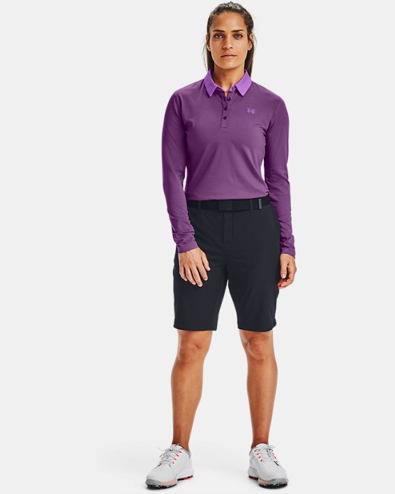 Women's UA Zinger Long Sleeve Polo, Purple, pdpMainDesktop image number 1