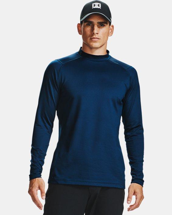 Men's ColdGear® Infrared Long Sleeve Golf Mock, Navy, pdpMainDesktop image number 1