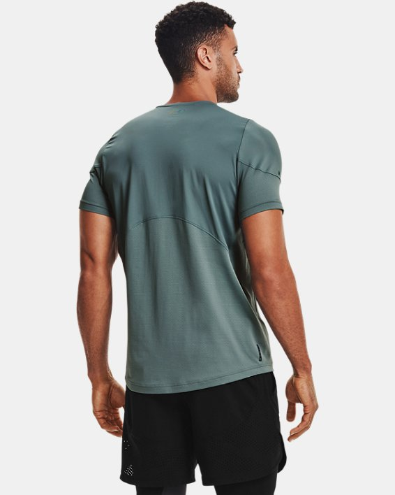 Men's UA RUSH™ HeatGear® 2.0 Short Sleeve, Blue, pdpMainDesktop image number 2