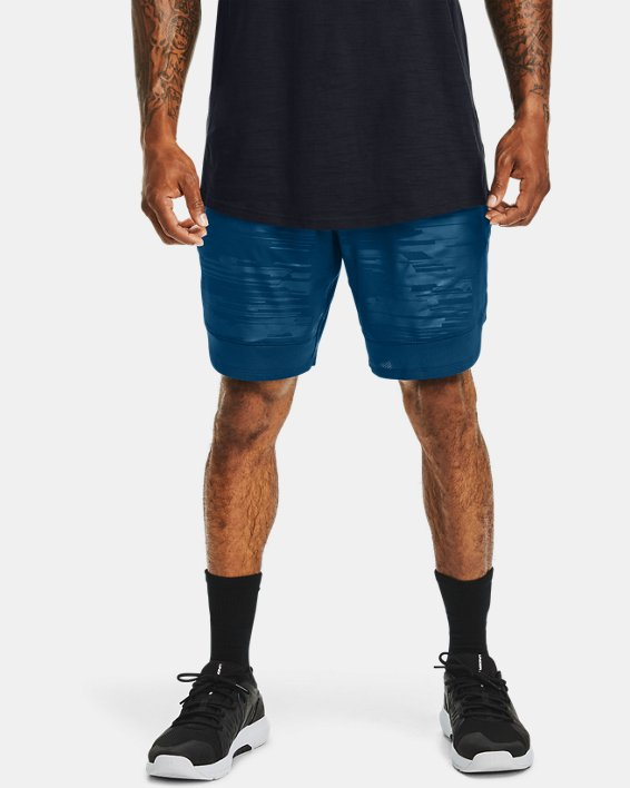 Men's UA Training Stretch Printed Shorts, Blue, pdpMainDesktop image number 0