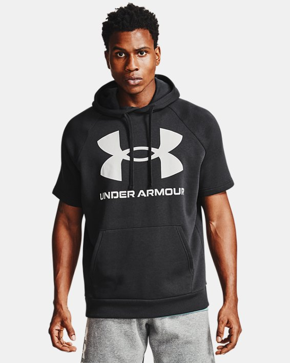 Sweat à capuche et manches courtes UA Rival Fleece Big Logo pour homme, Black, pdpMainDesktop image number 2