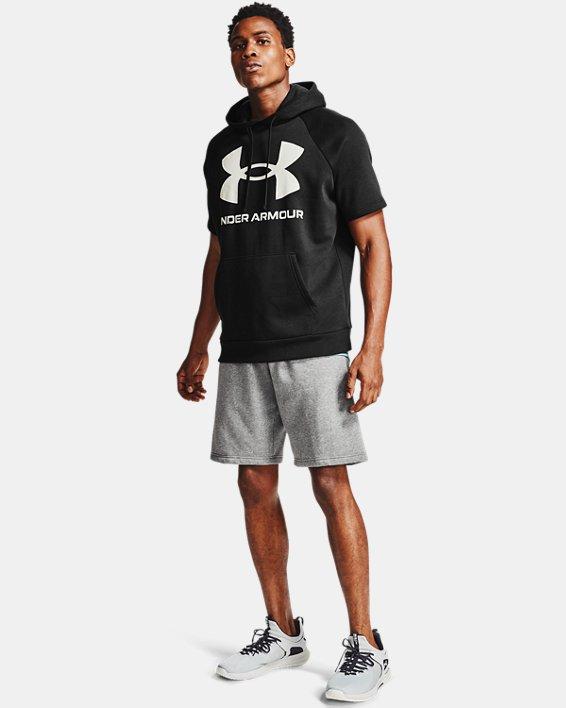 Sweat à capuche et manches courtes UA Rival Fleece Big Logo pour homme, Black, pdpMainDesktop image number 1