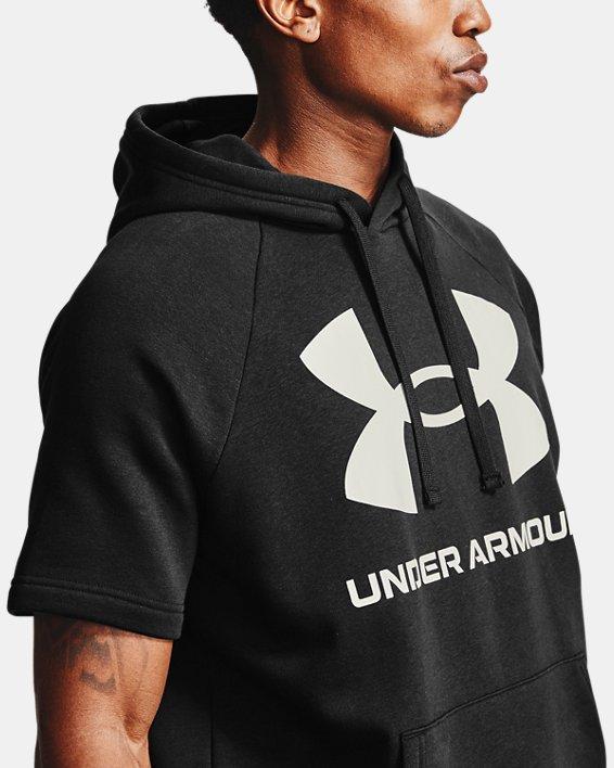 Sweat à capuche et manches courtes UA Rival Fleece Big Logo pour homme, Black, pdpMainDesktop image number 4
