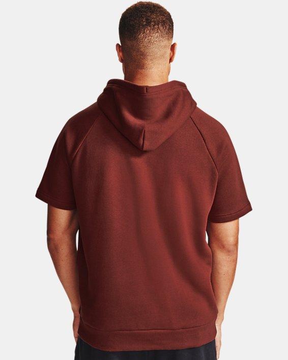 Men's UA Rival Fleece Big Logo Short Sleeve Hoodie, Red, pdpMainDesktop image number 2