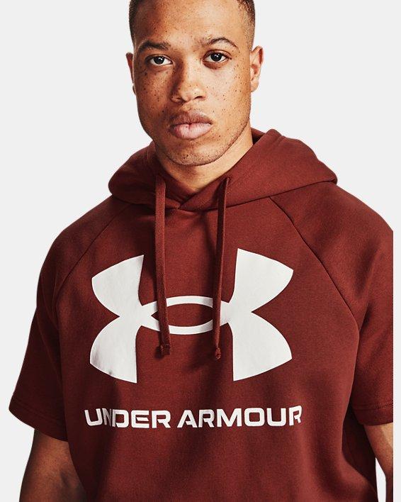 Men's UA Rival Fleece Big Logo Short Sleeve Hoodie, Red, pdpMainDesktop image number 1