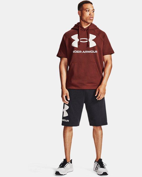 Men's UA Rival Fleece Big Logo Short Sleeve Hoodie, Red, pdpMainDesktop image number 0