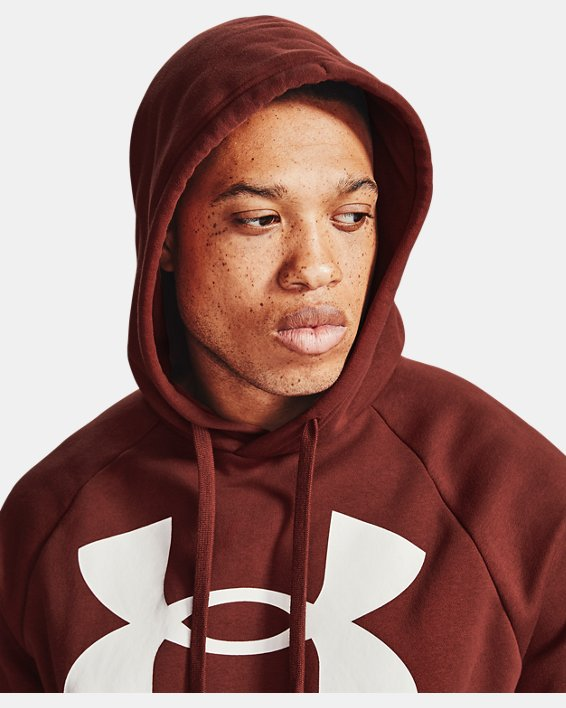 Men's UA Rival Fleece Big Logo Short Sleeve Hoodie, Red, pdpMainDesktop image number 6