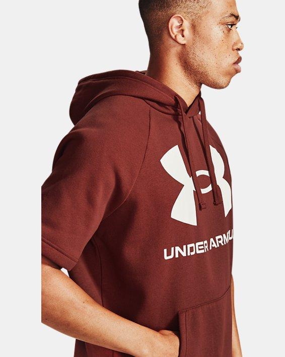 Men's UA Rival Fleece Big Logo Short Sleeve Hoodie, Red, pdpMainDesktop image number 3