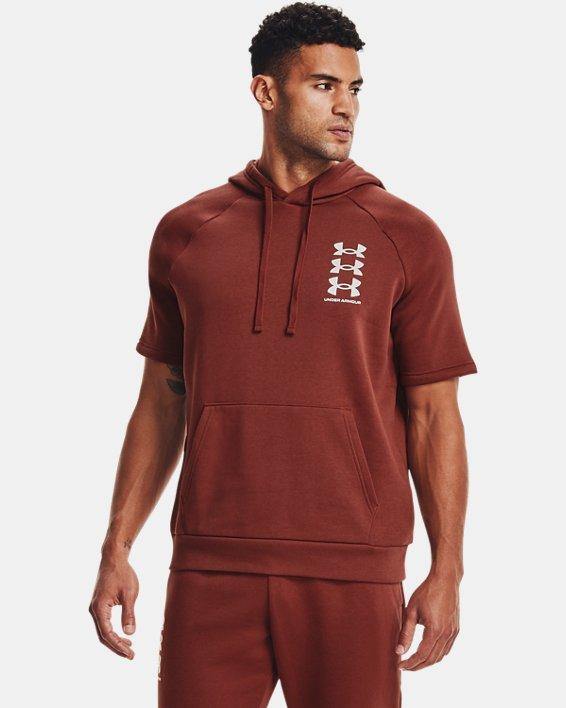 Men's UA Rival Fleece Multilogo Short Sleeve Hoodie, Red, pdpMainDesktop image number 1