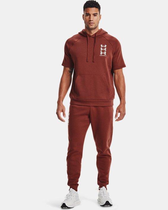 Men's UA Rival Fleece Multilogo Short Sleeve Hoodie, Red, pdpMainDesktop image number 0