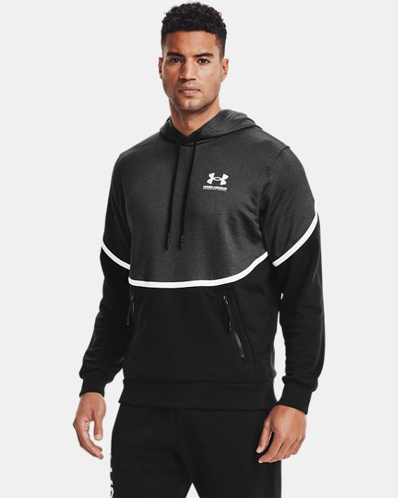 Men's UA Rival Fleece AMP Hoodie, Black, pdpMainDesktop image number 0