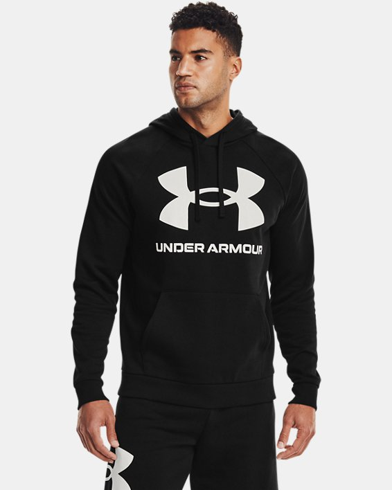 Men's UA Rival Fleece Big Logo Hoodie, Black, pdpMainDesktop image number 0
