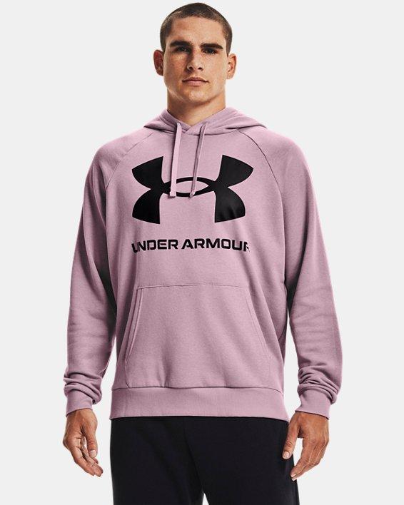 Men's UA Rival Fleece Big Logo Hoodie, Pink, pdpMainDesktop image number 0