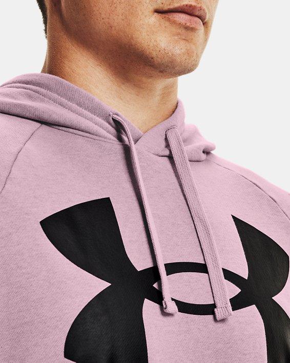 Men's UA Rival Fleece Big Logo Hoodie, Pink, pdpMainDesktop image number 3