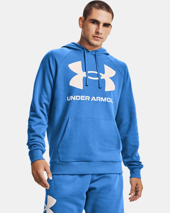 Men's UA Rival Fleece Big Logo Hoodie, Blue, pdpMainDesktop image number 0