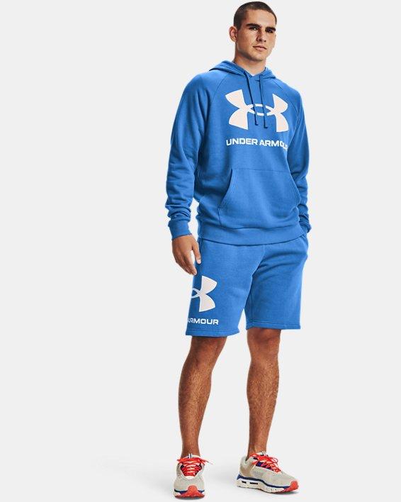 Men's UA Rival Fleece Big Logo Hoodie, Blue, pdpMainDesktop image number 2