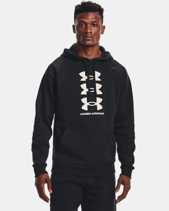 Men's UA Rival Fleece Multilogo Hoodie, Black, pdpMainDesktop image number 1