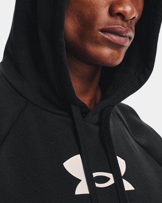 Men's UA Rival Fleece Multilogo Hoodie, Black, pdpMainDesktop image number 6