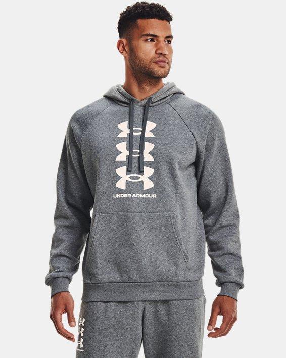 Sudadera con capucha de tejido Fleece UA Rival Multilogo para hombre, Gray, pdpMainDesktop image number 2