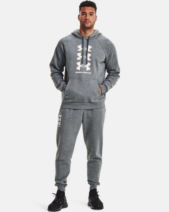 Sudadera con capucha de tejido Fleece UA Rival Multilogo para hombre, Gray, pdpMainDesktop image number 1