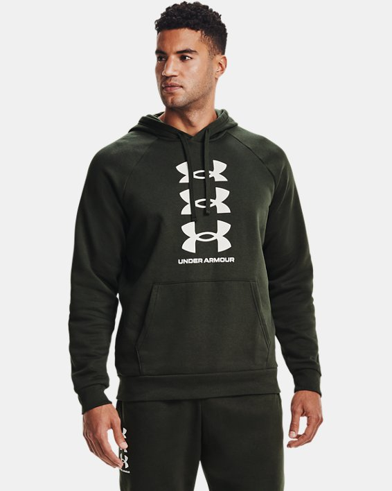 Men's UA Rival Fleece Multilogo Hoodie, Green, pdpMainDesktop image number 1