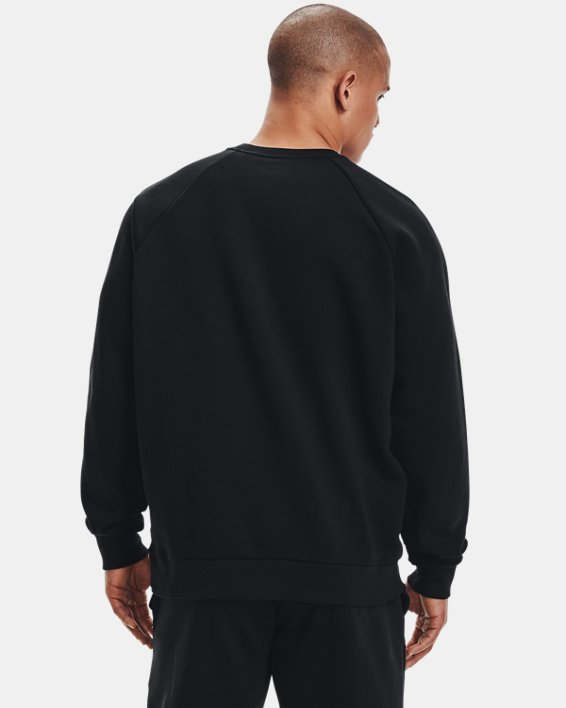 Men's UA Rival Fleece Crew, Black, pdpMainDesktop image number 2