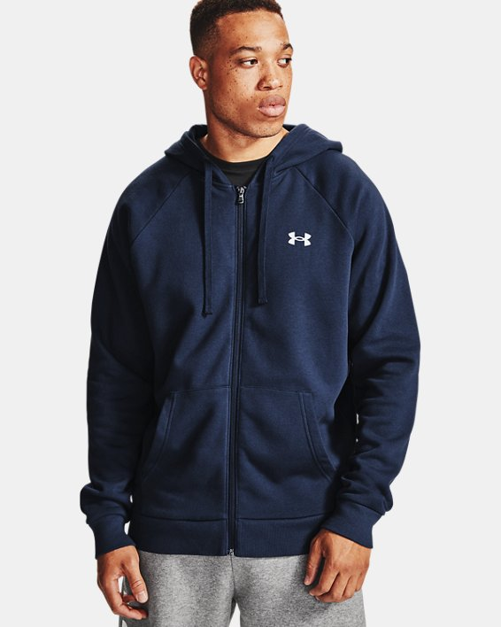 Men's UA Rival Cotton Full Zip Hoodie, Navy, pdpMainDesktop image number 1