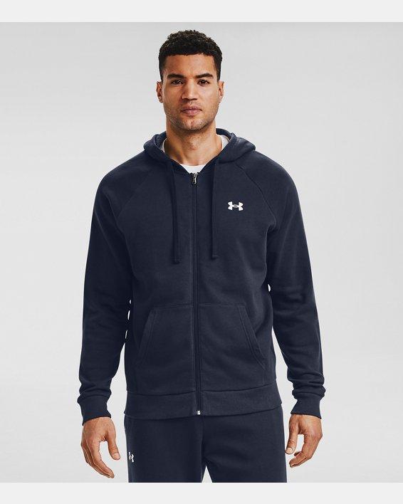 Men's UA Rival Cotton Full Zip Hoodie, Navy, pdpMainDesktop image number 0
