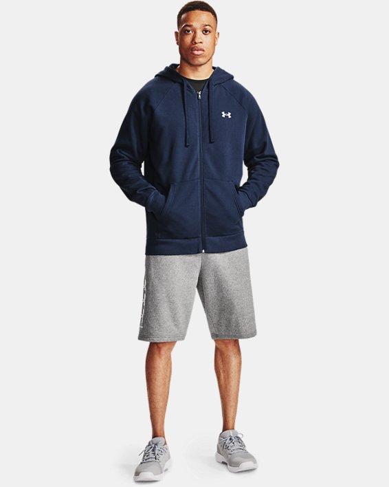 Men's UA Rival Cotton Full Zip Hoodie, Navy, pdpMainDesktop image number 3