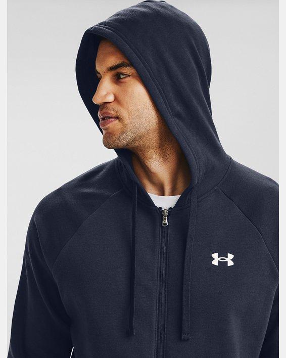 Men's UA Rival Cotton Full Zip Hoodie, Navy, pdpMainDesktop image number 4