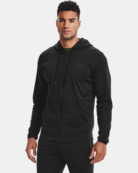 Men's Armour Fleece® Full Zip Hoodie, Black, pdpMainDesktop image number 1