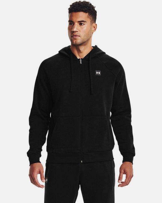 Men's UA Rival Fleece Full Zip Hoodie, Black, pdpMainDesktop image number 2
