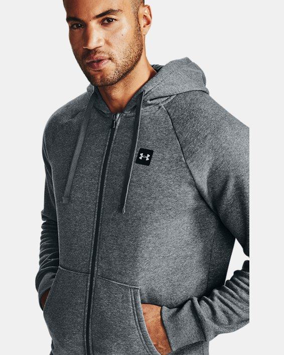 Men's UA Rival Fleece Full Zip Hoodie, Gray, pdpMainDesktop image number 1