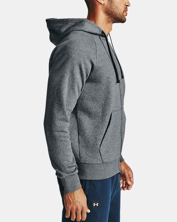 Men's UA Rival Fleece Full Zip Hoodie, Gray, pdpMainDesktop image number 3