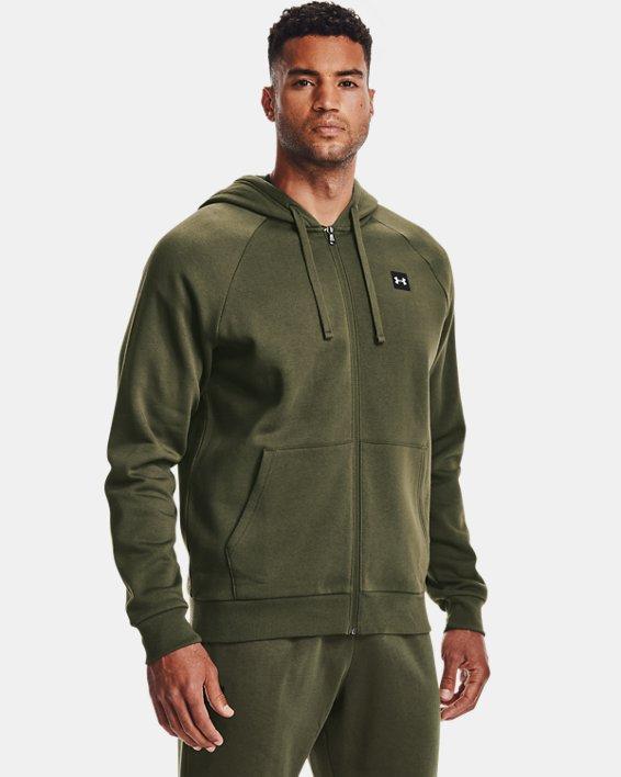 Men's UA Rival Fleece Full Zip Hoodie, Green, pdpMainDesktop image number 1