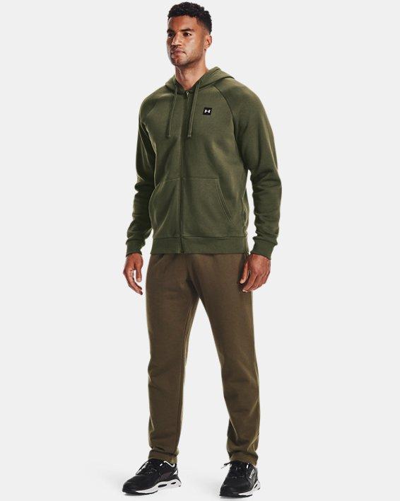 Men's UA Rival Fleece Full Zip Hoodie, Green, pdpMainDesktop image number 0