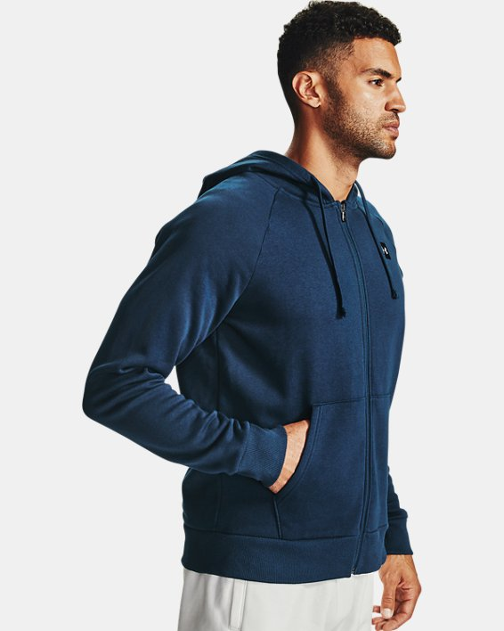 Men's UA Rival Fleece Full Zip Hoodie, Navy, pdpMainDesktop image number 3