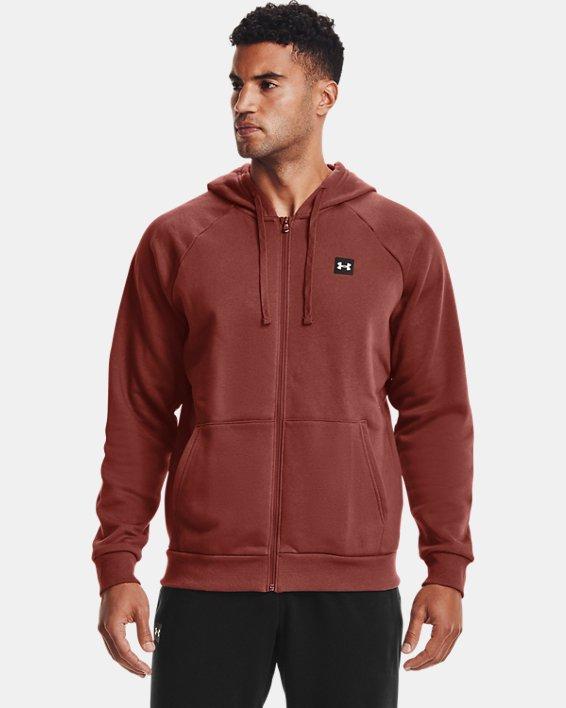Men's UA Rival Fleece Full Zip Hoodie, Red, pdpMainDesktop image number 1