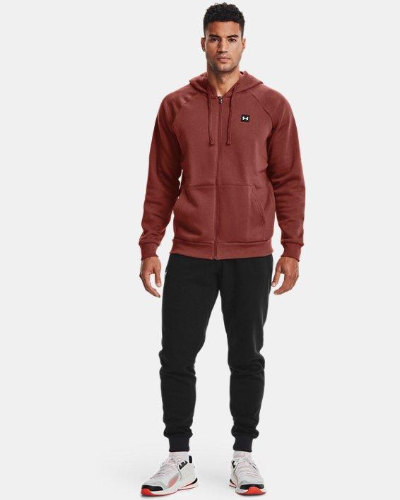 Men's UA Rival Fleece Full Zip Hoodie, Red, pdpMainDesktop image number 0