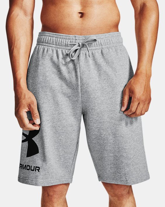 Men's UA Rival Fleece Big Logo Shorts, Gray, pdpMainDesktop image number 1