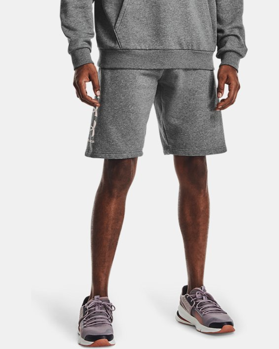 Men's UA Rival Fleece Multilogo Shorts, Gray, pdpMainDesktop image number 1