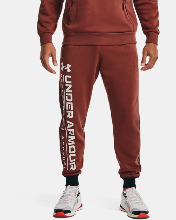 Men's UA Rival Fleece AMP Joggers, Red, pdpMainDesktop image number 1