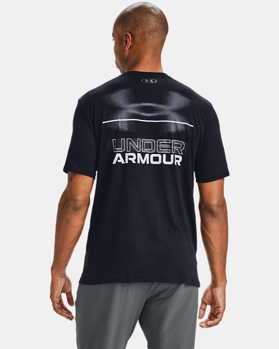 Men's UA Blurry Logo Wordmark Short Sleeve, Black, pdpMainDesktop image number 2