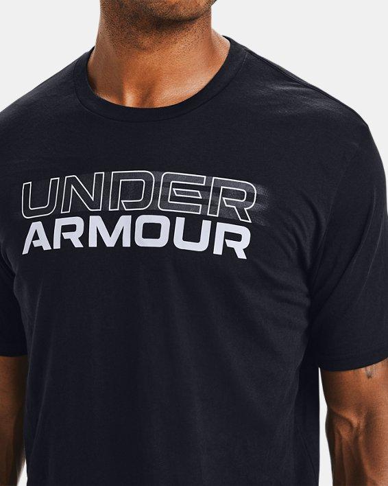 Men's UA Blurry Logo Wordmark Short Sleeve, Black, pdpMainDesktop image number 3