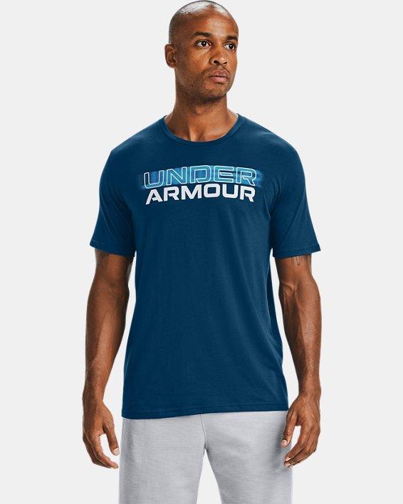 T-shirt à manches courtes UA Blurry Logo Wordmark pour homme, Blue, pdpMainDesktop image number 0