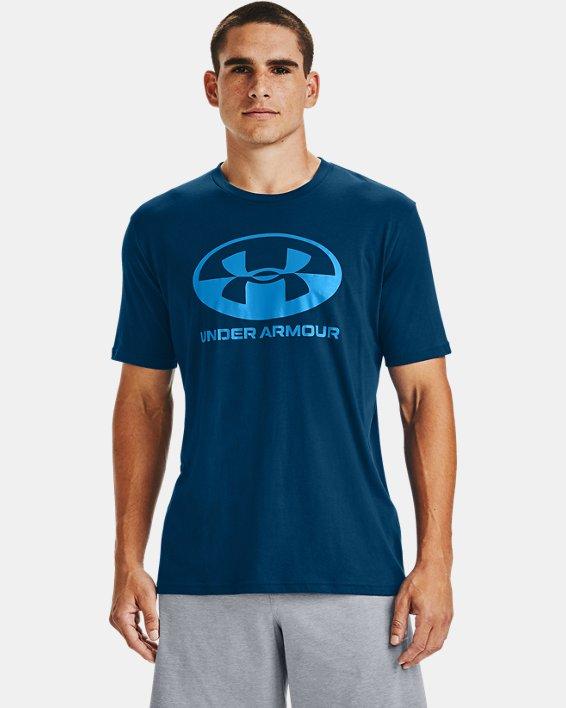 Men's UA Locker Tag Wordmark Short Sleeve, Blue, pdpMainDesktop image number 0