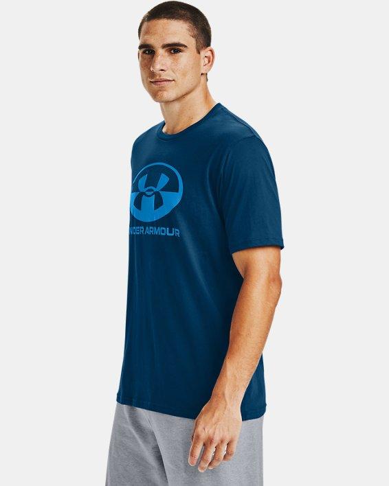 Men's UA Locker Tag Wordmark Short Sleeve, Blue, pdpMainDesktop image number 3