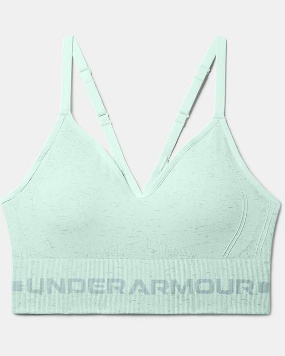 Women's UA Seamless Low Long Heather Sports Bra, Blue, pdpMainDesktop image number 2