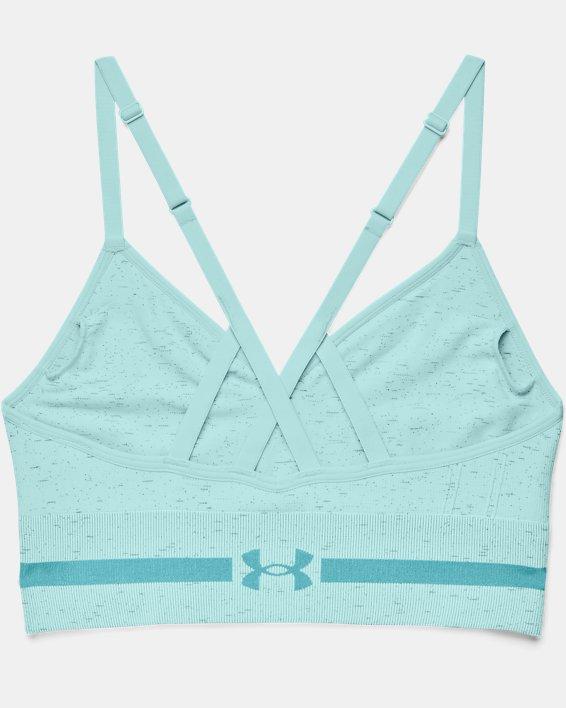 Women's UA Seamless Low Long Heather Sports Bra, Blue, pdpMainDesktop image number 3
