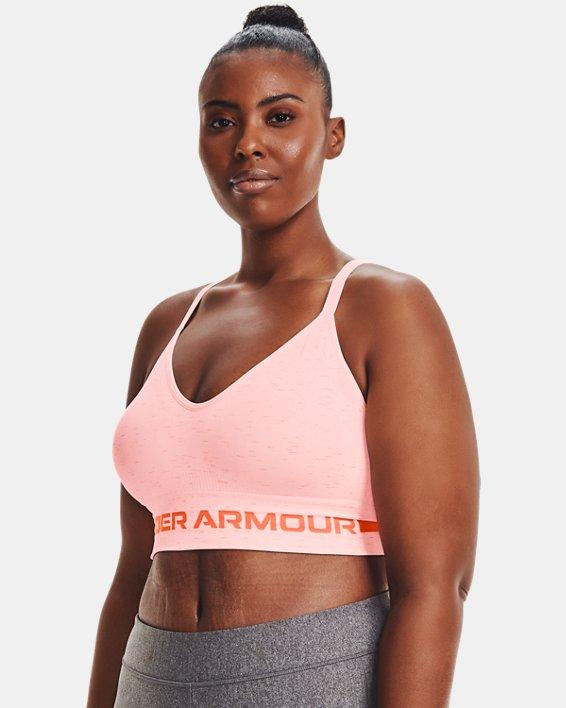 Damessport-BH UA Seamless Low Long Heather, Pink, pdpMainDesktop image number 3